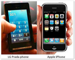 LG Prada vs iPhone
