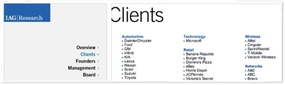 Listed among IAG's clients is Microsoft