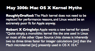 May 2006: Mac OS X Kernel Myths