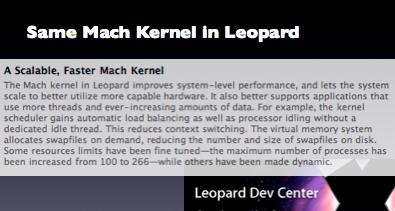 Same Mach Kernel in Leopard