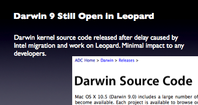 Darwin 9 Still Open in Leopard