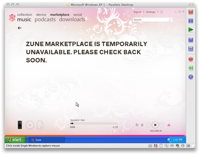 Zune marketplace unavailable