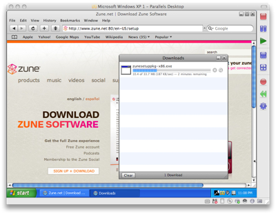 Install Zune software