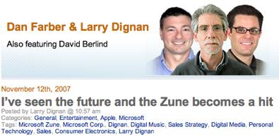 ZDNet Zune Larry Dignan