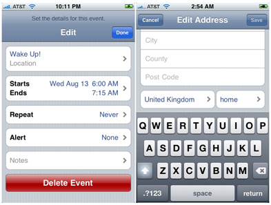 iPhone calendar contacts