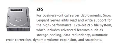 ZFS Snow Leopard Server